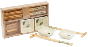 Kit de Hashi de Melamina e Bambu 6 Peças Rio de Ouro
