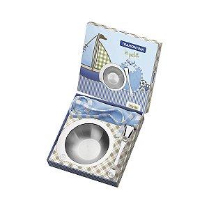 Kit Infantil Tramontina Le Petit p/ Refeição Azul Inox 3 PÇS