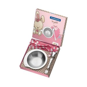 Kit Infantil Tramontina Le Petit para Refeição Rosa em Aço Inox 3 Peças