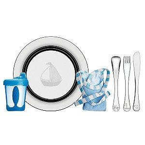 Kit Infantil Tramontina Le Petit Refeição Azul em Inox 6 Pçs