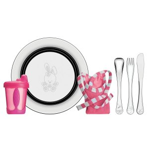 Kit Infantil Tramontina Le Petit Refeição Rosa em Inox 6 Pçs