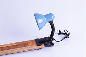 Luminária Sukram maleável garra 60w azul pastel