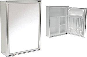 Armário banheiro Steel alumínio com espelho 1 porta ref 3040
