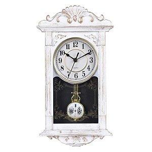 Relógio Yins De Parede Retro Com Pendulo 41cm x 22cm Branco