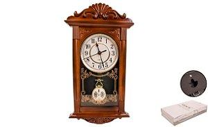 Relógio Yins De Parede Retro Com Pendulo 41cm x 22cm Marrom