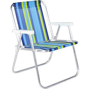 Cadeira Praia Belfix Alumínio Alta Dobrável 90kg Piscina 25500