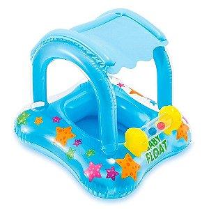 Boia inflável Intex infantil com cobetura baby bote kiddie
