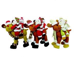 Papai Noel tecido Rio de Ouro c/ rena 35cm Ntd1095