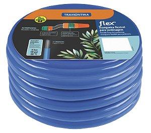 Mangueira Flex Tramontina Azul em PVC 2 Camadas 10 m com Engates rosqueados e Esguicho