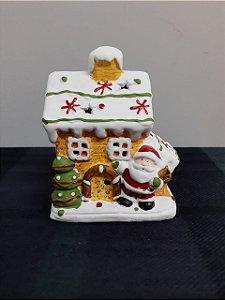 Casa natalina cerâmica iluminação LED Rio de Ouro  11,5x7,5x13,5cm