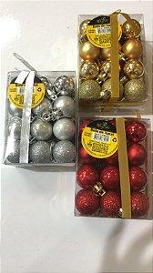 Kit bolinhas de natal com 24 undades tamanho 03cm