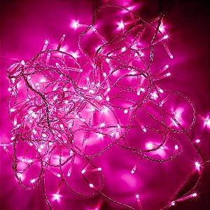Pisca led com 100 lâmpadas rosa Rio de Ouro 220V