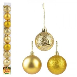 Kit bolinhas de natal com 9 pçs dourada Zein 5cm