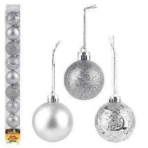Kit bolinhas de natal com 9 pçs prata Zein 5cm