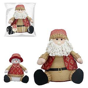 Boneco sentado natalino Zein com 34cm