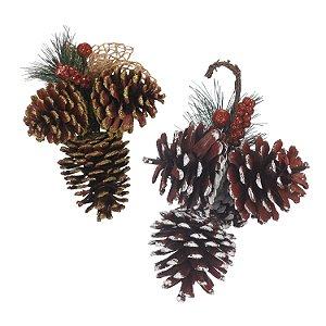 Enfeite de natal pinhas 15x11cm c/3und Zein
