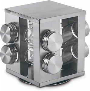Porta condimento vidro base giratória Inox 17X19CM 8PÇS
