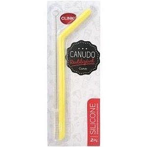 Kit canudo Clink ecológico reutilizável silicone c/ escova