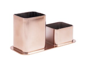 Porta canetas e clips Dello Color metalizado Rose Gold