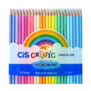 Lápis de Cor 24 Cores Tons Pastel Criatic Cis