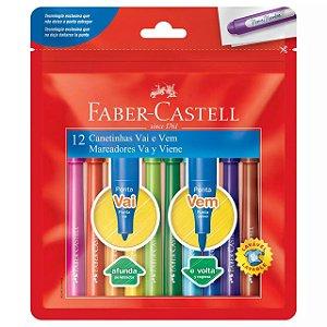 Canetinha Hidrografica Vai e Vem 12 Cores Faber Castell
