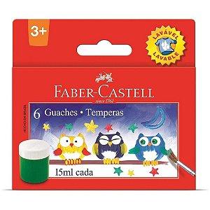Tinta Guache 15ML 06 Cores Lavável Faber Castell