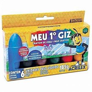 Giz de cera meu 1º giz Acrilex 6 cores *GIZ GRANDE