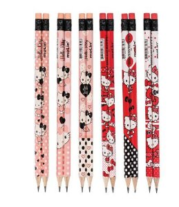 Lápis preto HB N° 2 c/ borracha Molin Hello Kitty
