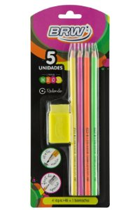 Kit escolar Neon 5pçs BRW