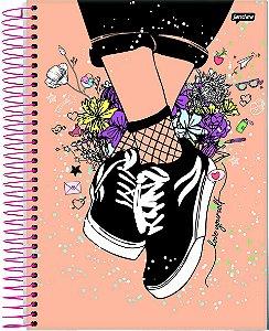 Caderno universitário It Girl Jandaia 96fls c/ adesivos
