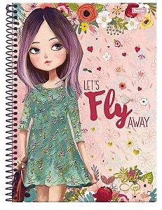 Caderno universitário Doll Foroni 96fls c/ adesivos