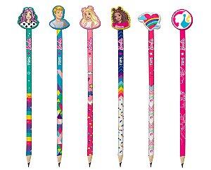 Lápis preto metalizado c/ borracha Barbie Tris