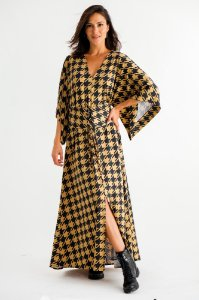 Vestido Longo Karen Pied de Coq