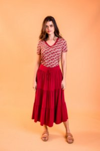 Saia Midi Jussara Hot Red