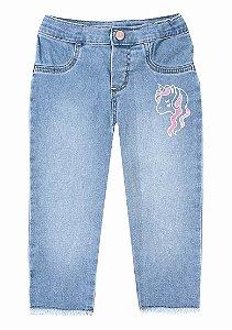 Calça Jeans Infantil Menina Com Estampa Unicórnio Hering Kids Play