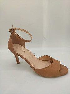 Sandália Shoestock Salto Fino Baixo Nobuck Nude