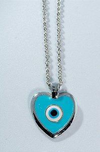 Colar coração olho grego - azul céu