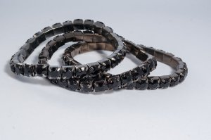 Kit trio de pulseiras - grafite/ preto