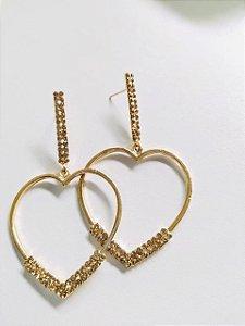 Brinco dourado coração com strass