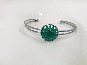 Bracelete ródio detalhe verde