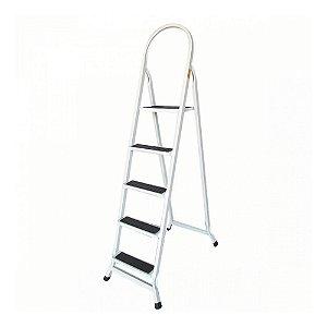 Escada em aço Doméstica 5 Degraus Branca - Utilaço