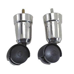 Pé Alumínio Com Rodízio 12cm - 2 Peças
