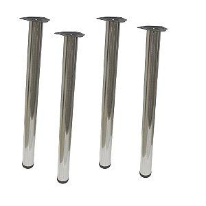Kit 4 Pes de Mesa tubular com regulagem Escovado - DMT