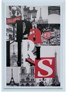TELA DE CANVAS COM MOLDURA WORD PARIS