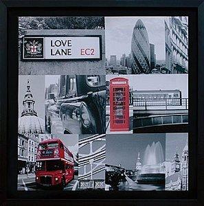 TELA DE CANVAS COM MOLDURA LONDRES LOVE LANE