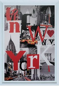 TELA DE CANVAS COM MOLDURA WORD NEW YORK