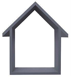 NICHO CINZA COM TELHADO HOME SWEET HOME 33X48CM