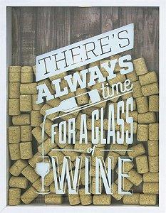 QUADRO PORTA-ROLHAS GLASS OF WINE 32X42CM BRANCO