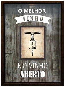 QUADRO PORTA-ROLHAS C/ MINI QUADRO O MELHOR VINHO 32X42CM BETUME