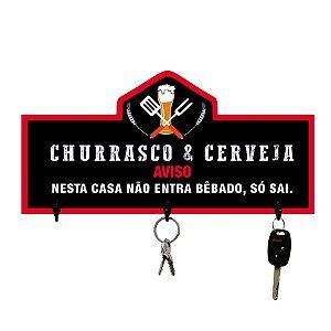 PORTA-CHAVES CHURRASCO E CERVEJA 13X25CM